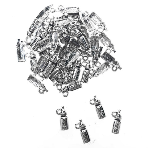 Baby Bottle Metal Charms, 5/8-Inch, 50-Count, Silver