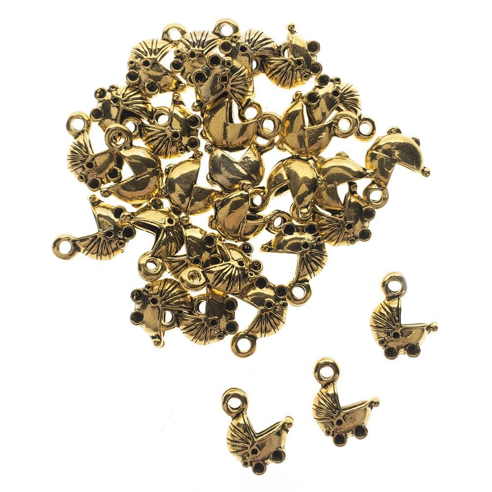 Baby Carriage Metal Charms, 1/2-Inch, 30-Count, Gold