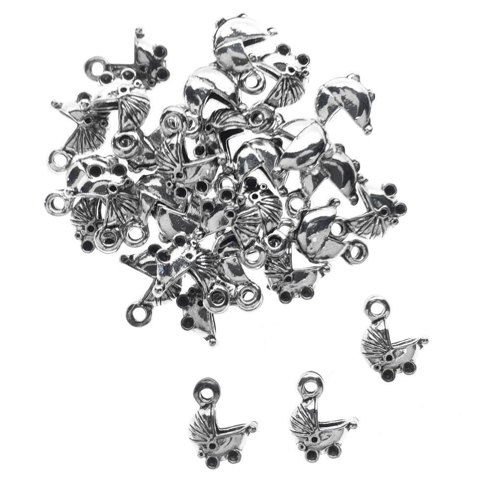Baby Carriage Metal Charms, 1/2-Inch, 30-Count, Silver