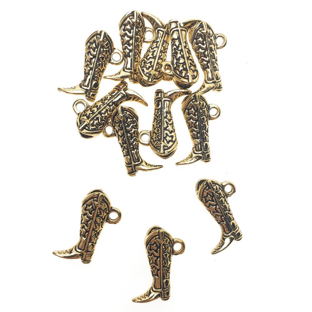 Starry Cowboy Boot Metal Charms, 1-Inch, 12-Count, Gold