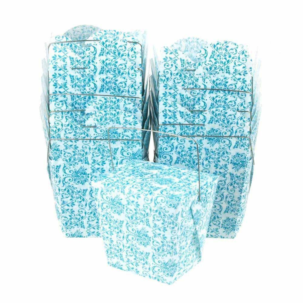 Damask Take Out Boxes with Wire Handle, 2-3/4-Inch, 12-Piece, White/Aqua