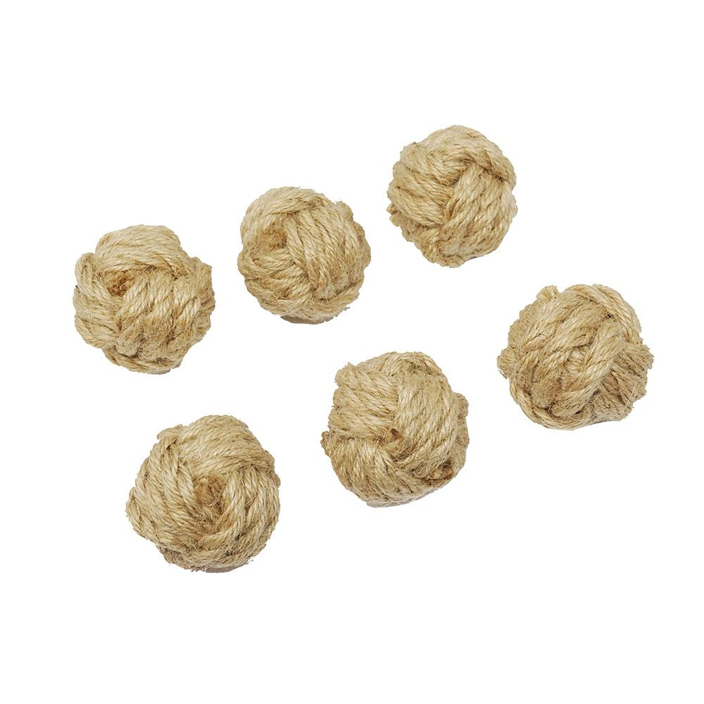 Decorative Jute Rope Ball, Natural, 2-Inch, 6-Count