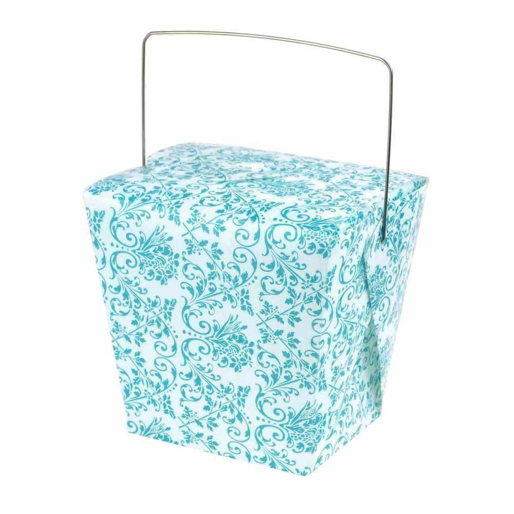 Damask Take Out Boxes with Wire Handle, 4-Inch, 12-Piece, White/Aqua