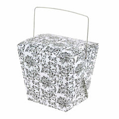 Damask Take Out Boxes with Wire Handle, 12-Piece