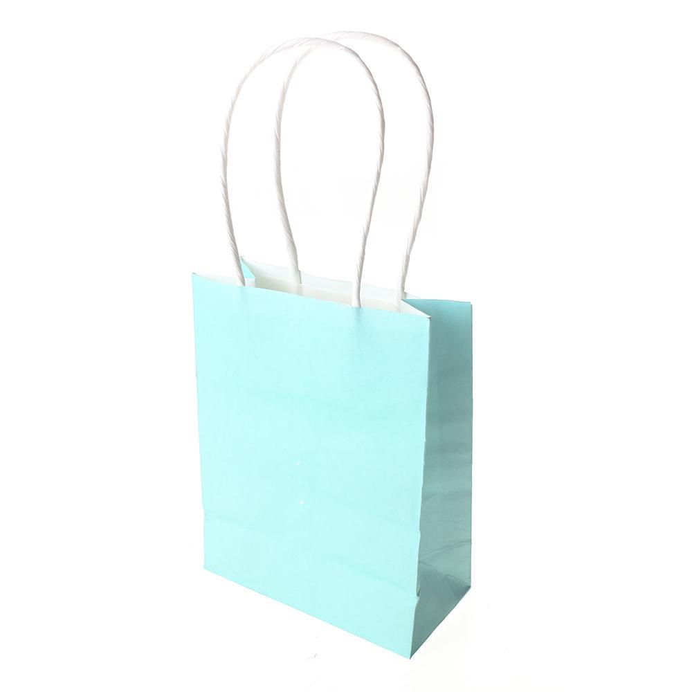 Small Party Favor Paper Treat Bags, 5-Inch, 12-Count, Blue