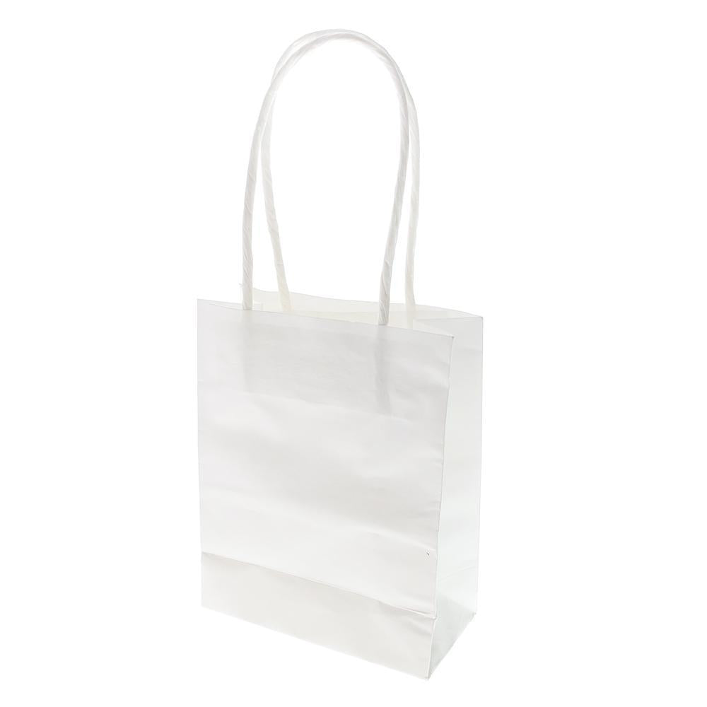 Small Party Favor Paper Treat Bags, 5-Inch, 12-Count, White
