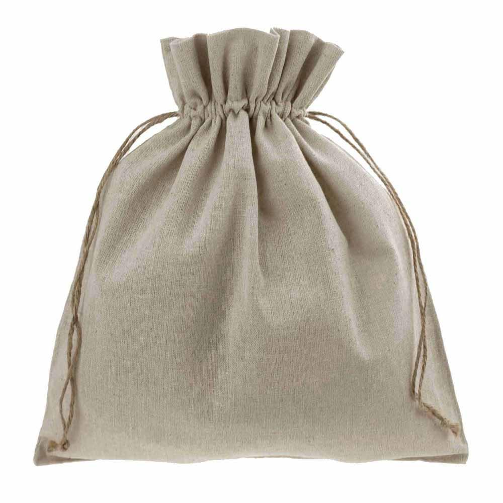 Natural Linen Favor Bags with Jute Drawstring, 12-Inch x 14-Inch, 12-Piece