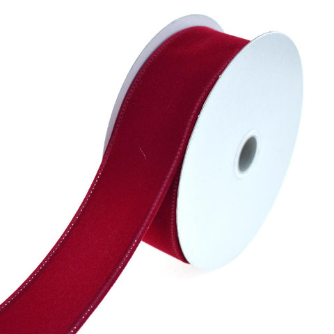 Christmas Velvet Wired Edge Ribbon, 1-1/2-Inch, 10-Yard, Dark Red