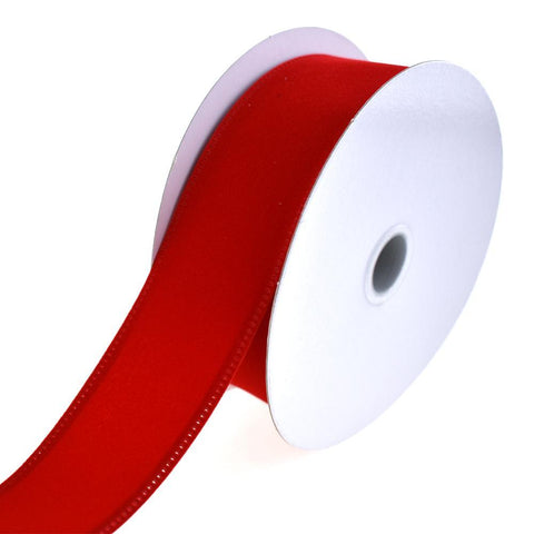 Christmas Velvet Wired Edge Ribbon, 1-1/2-Inch, 10-Yard, Bright Red