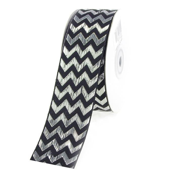 Chevron Ribbon Metallic Shine, 1-1/2-Inch, 25 Yards, Black/Silver
