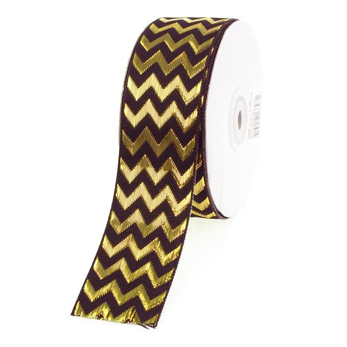Chevron Ribbon Metallic Shine, 1-1/2-Inch, 25 Yards, Black/Gold