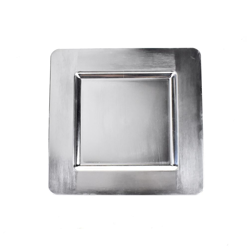 Plastic Square Charger Plate, 13-Inch, Silver