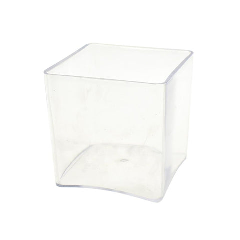 Clear Plastic Square Vase Display, 6-Inch x 6-Inch