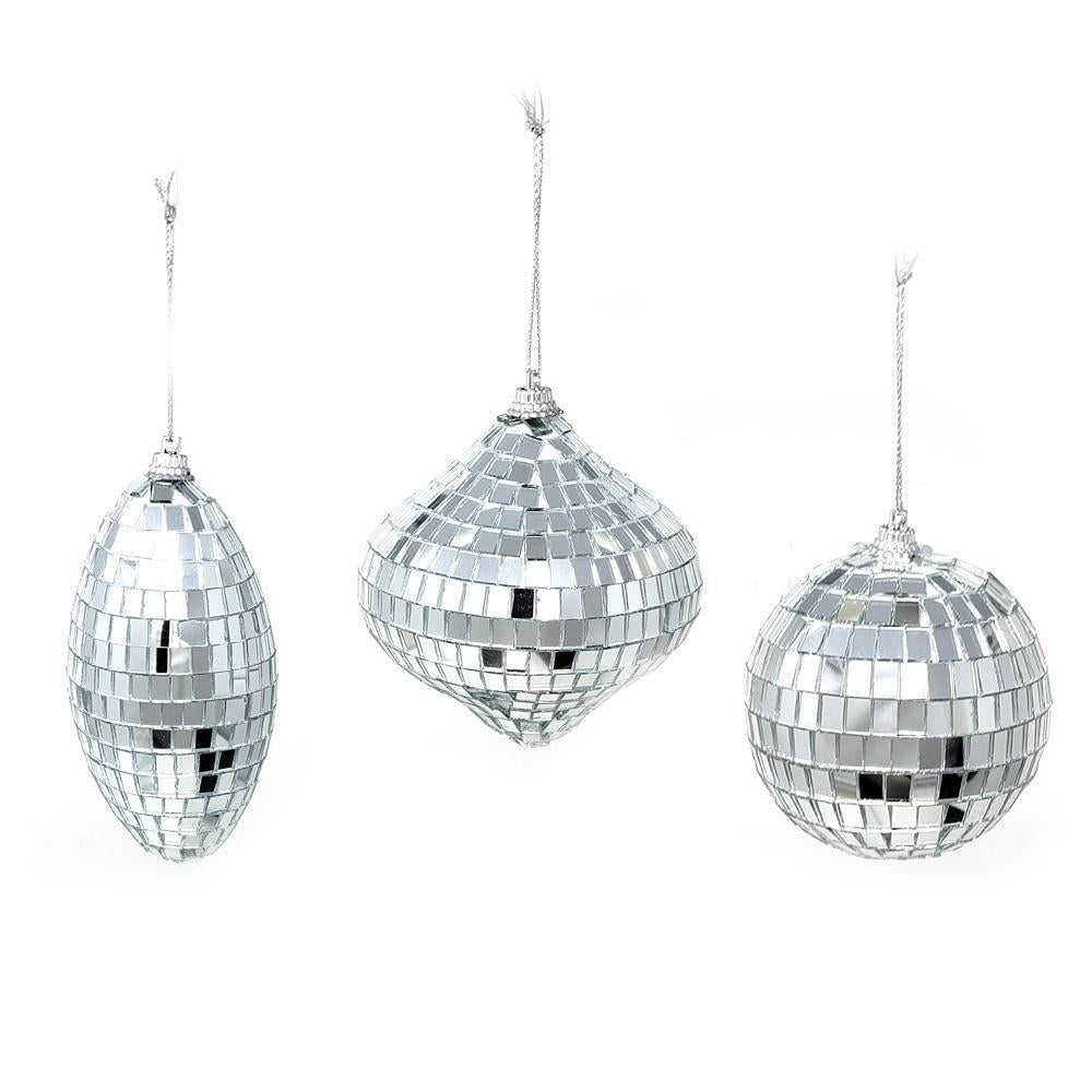 Assorted Shape Mirror Christmas Ornaments, Silver, 3-Piece
