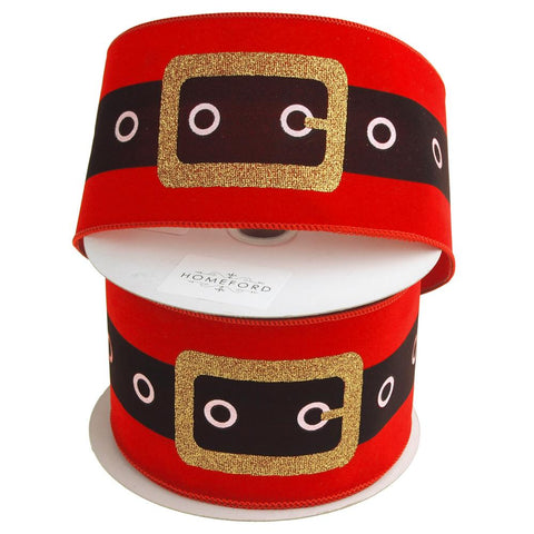 Christmas Santa Belt Velvet Ribbon Wired Edge, 4-Inch, 20 Yards, Red