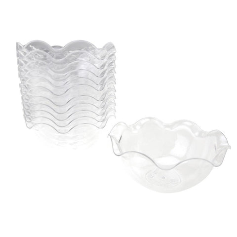 Clear Mini Waved Edge Plastic Appetizer Dessert Bowls, 3-1/2-Inch x 1-1/2-Inch, 12-Count