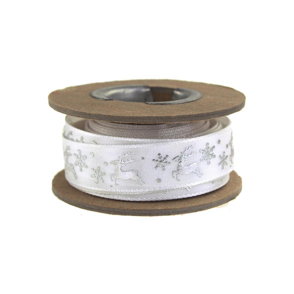 Glitter Reindeer Satin Ribbon, 5/8-Inch, 9 Yards, Silver