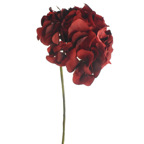 Artificial Velvet Hydrangea Stem, Red, 18-1/2-Inch