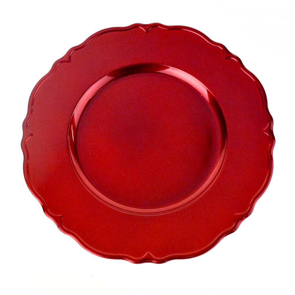 Plastic Round Charger Plate Wavy Edge, 13-Inch, Red