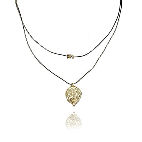 Leaf Layered Necklace, Gold, 12-Inch