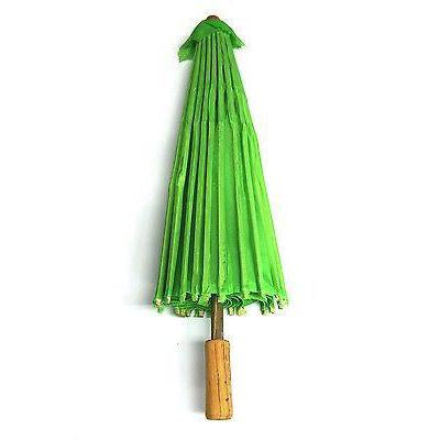 Paper Craft Umbrella with Bamboo Handle, 34-Inch, Apple Green