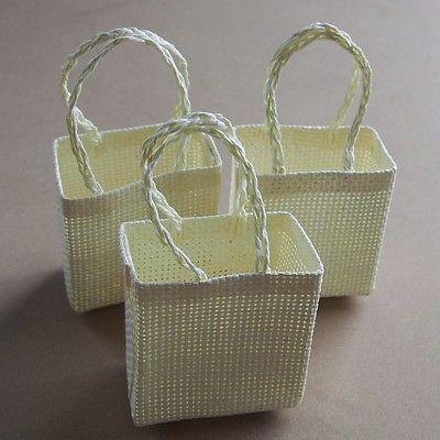 Tote Bag Woven Straw Favor Pouches, 3-inch, 12-Piece, Ivory