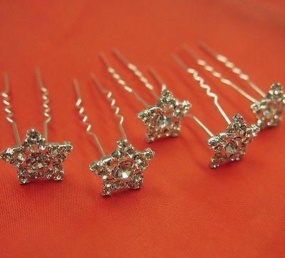 Wedding Rhinestone Tiara, Hairpin, 3/4-inch, Star (6-Piece)