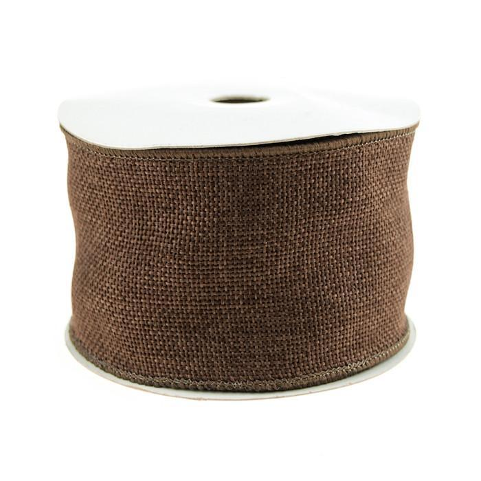 Faux Burlap Wired Edge Ribbon, 2-1/2-inch, 10-yard, Dark Brown