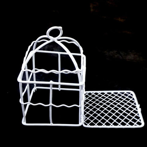 Mini White Metal Wire Bird Cages, Square, 3-1/2-Inch, 12-Piece
