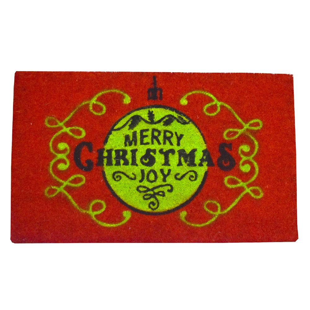 Holiday Sphere Swirl Christmas Coir Doormat, 29-1/2 x 18-Inch