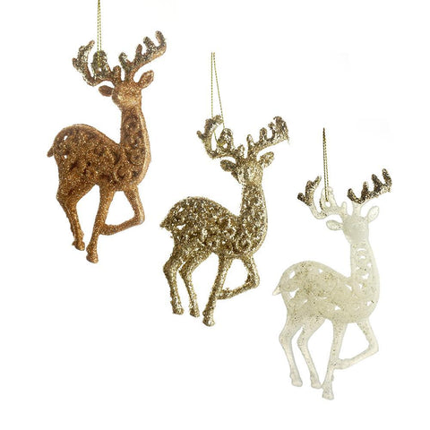 Christmas Glitter Reindeer Ornaments, Copper/White/Chapagne, 5-1/2-Inch, 6-Piece