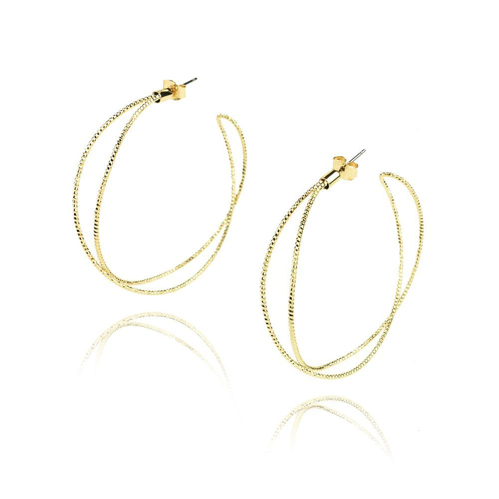 Crossed Hoop Earrings, Gold, 2-Inch