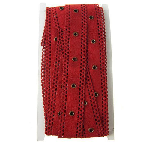 Suede Cut Eyelet Edge with Grommet, 1-Inch, 10 Yards, Red