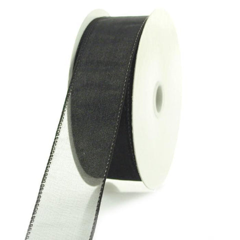 Sheer Chiffon Ribbon Wired Edge, 1-1/2-inch, 25-yard, Black