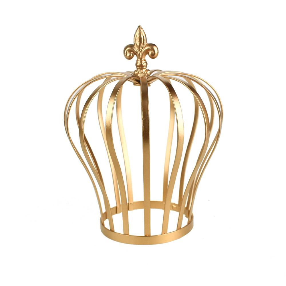 Metal Wired Crown with Fleur-de-lis Accent, Gold, 8-1/2-Inch