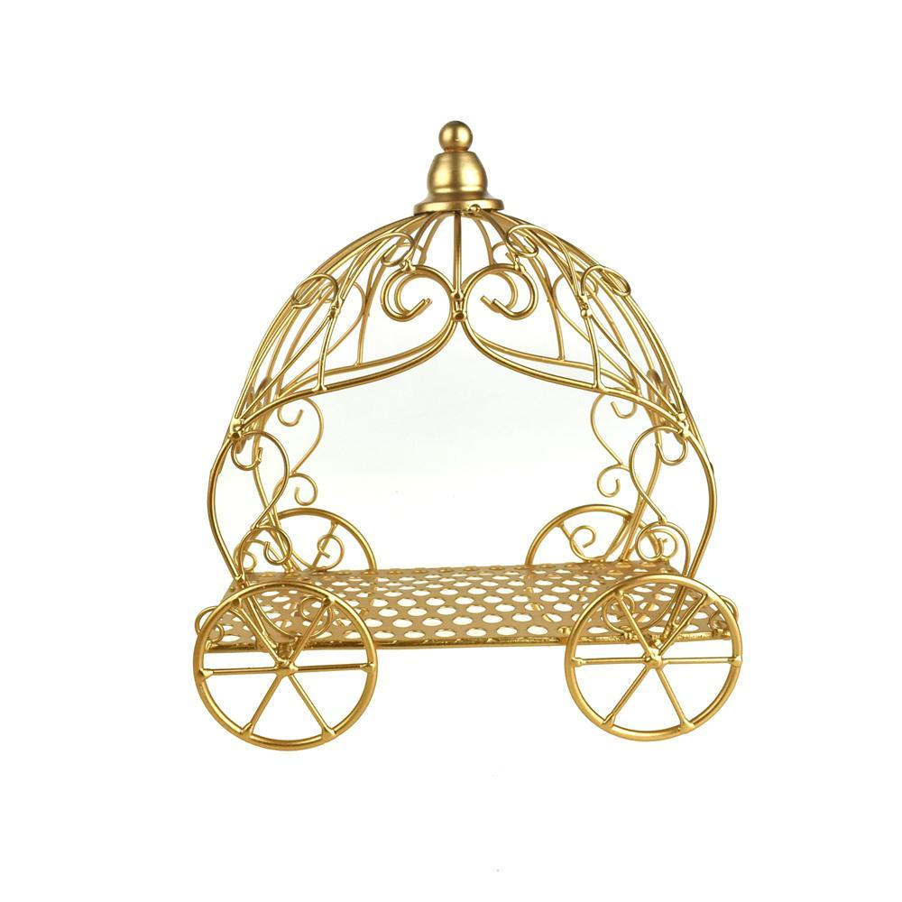 Metal Pumpkin Carriage, Gold, 12-Inch