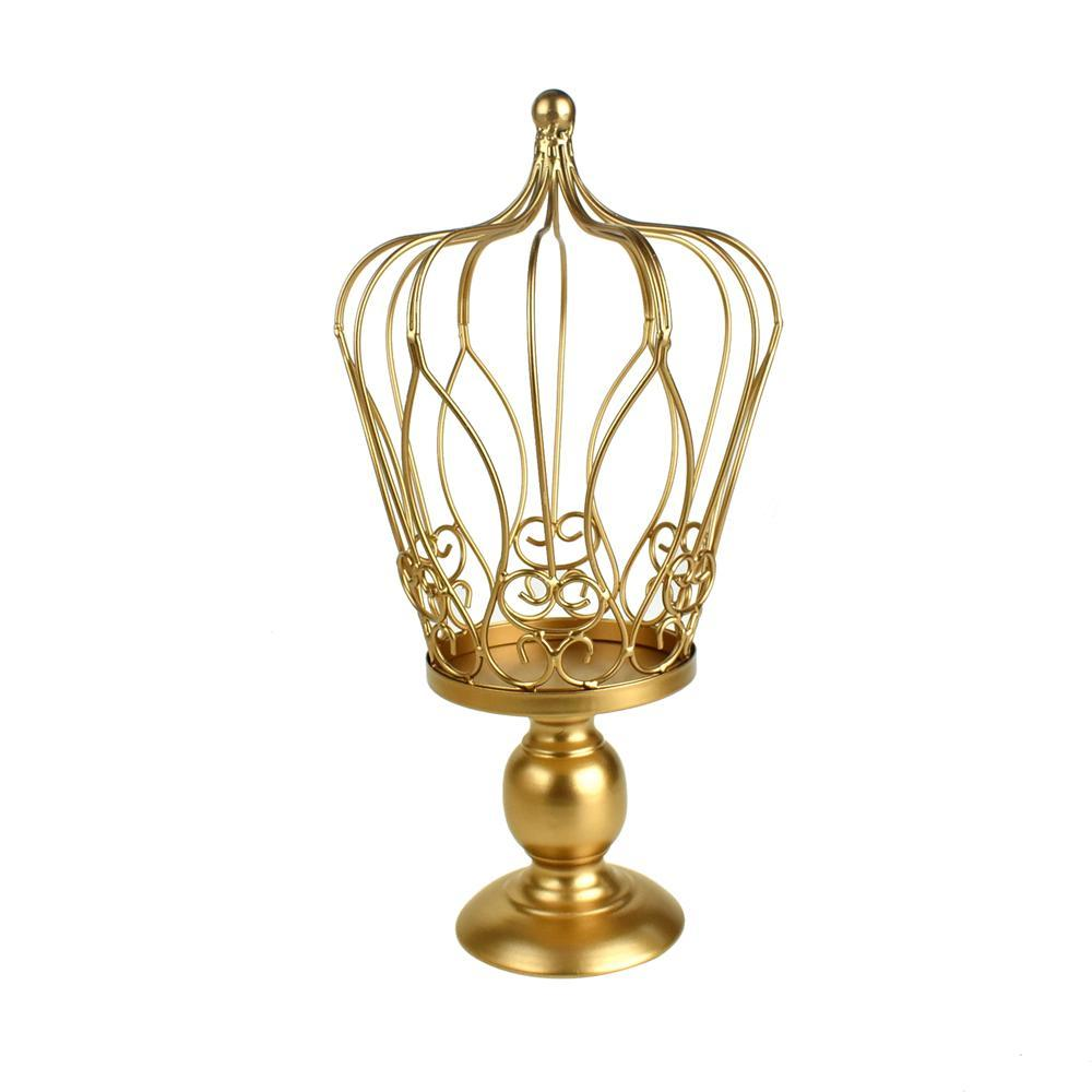 Metal Wired Crown Stand, Gold, 15-Inch