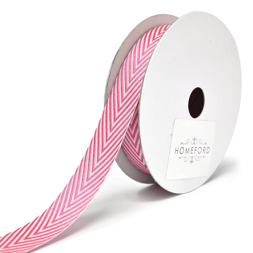 Woven Polyester Herringbone Ribbon, 5/8-Inch, 6-Yard, Hot Pink