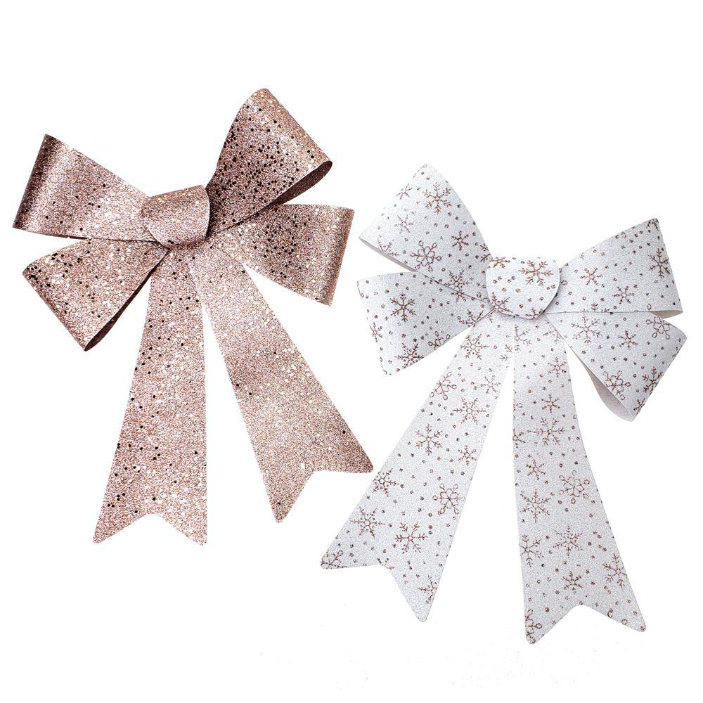 Glitter Snowflake Print Plastic Christmas Bows, Rose Gold, 16-Inch, 2-Piece