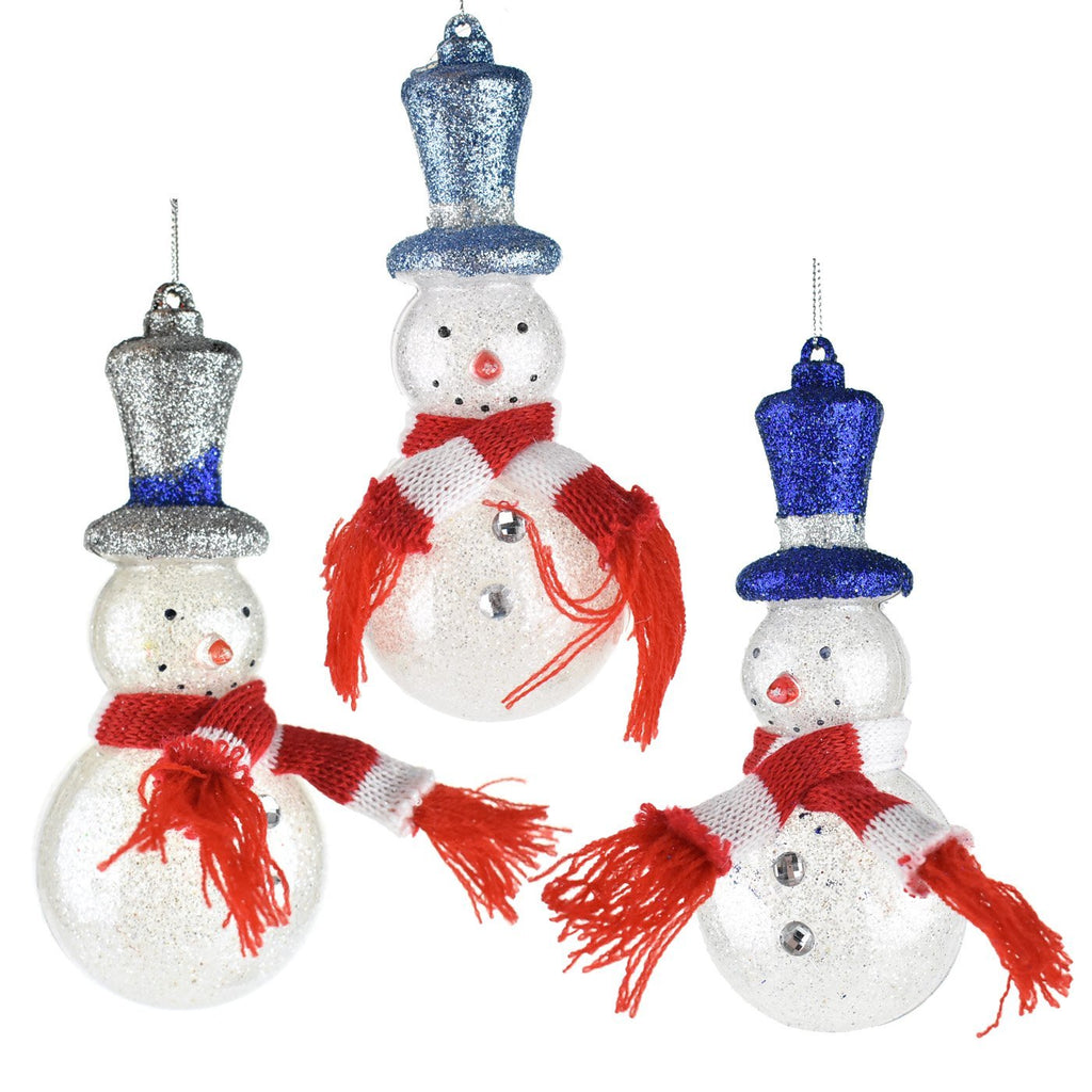 Glittered Snowman with Top Hats Christmas Ornaments, 6-1/2-Inch, 3-Piece
