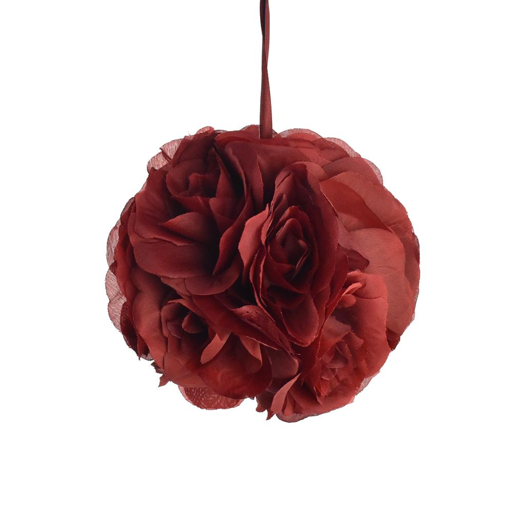 Silk Flower Kissing Balls Wedding Centerpiece, 6-Inch, Burgundy