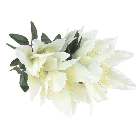 White Silk Tiger Lily Bouquet, 22-Inch