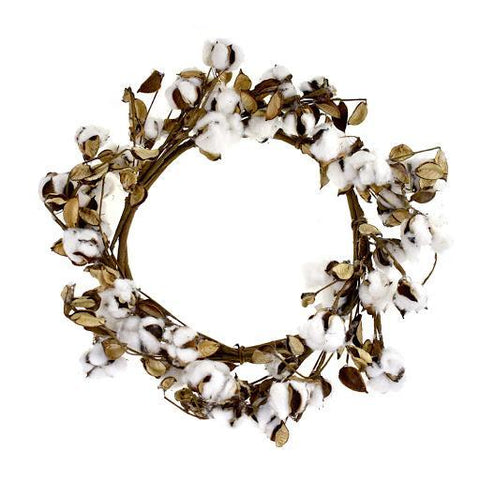 Artificial Cotton Plant Wreath, 19-Inch