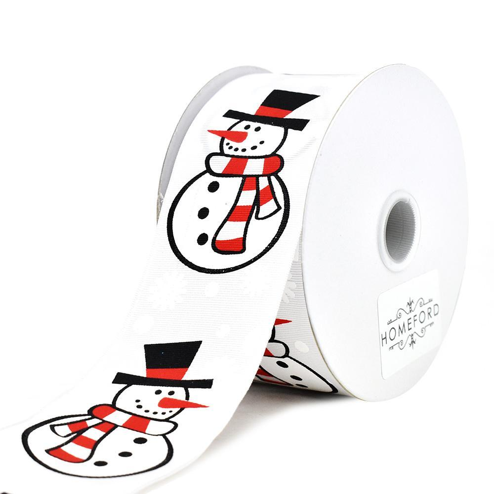 Christmas Cartoon Snowman Printed Ribbon, 1-1/2-Inch, 10-Yard