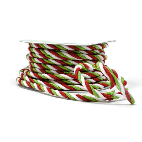 Braided Cord Christmas Ribbon, Multi-Color, 3/8-Inch, 10-Yard