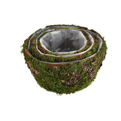 Faux Moss Covered Round Wooden Crates, 3-Piece
