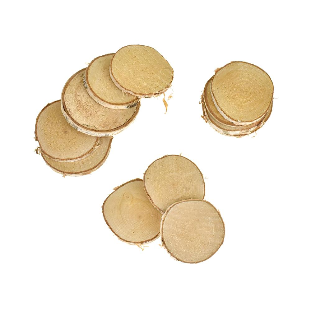 Rustic Round Natural Wood Slices, Assorted Sizes, 12-Piece