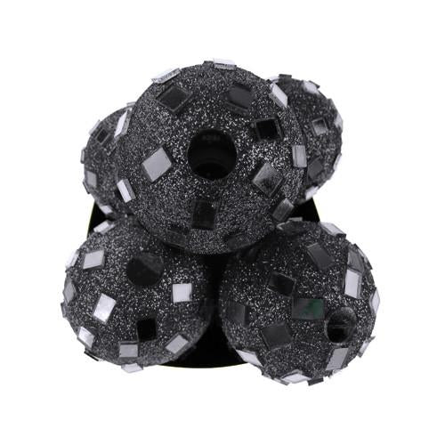 Glitter Disco Ornament Balls, 2-1/4-inch, 6-Piece, Black