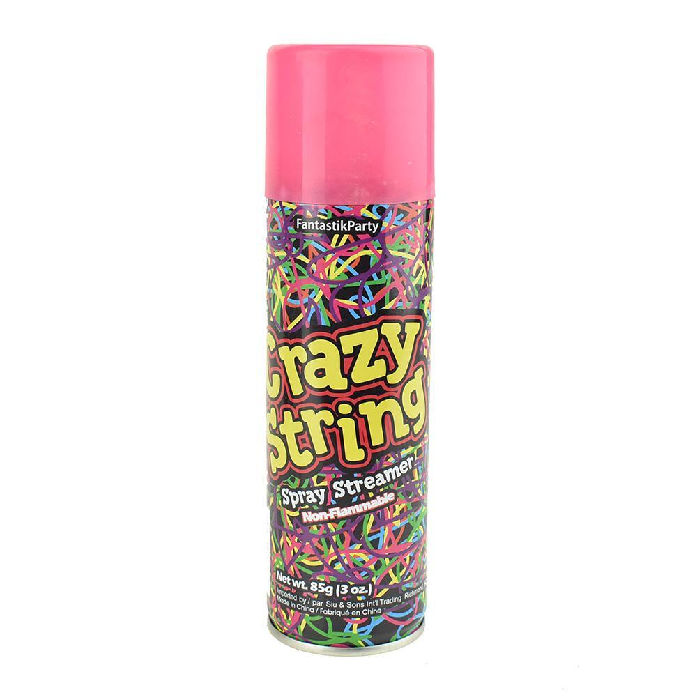 Crazy Party String Spray, 6-1/4-Inch, 3-oz, Pink