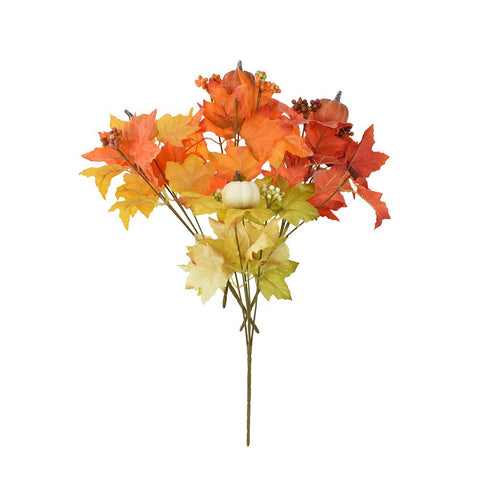 Artificial Bush Maple Leaves with Pumpkin Sprays, 12-Inch, 4-Piece